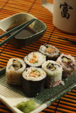 Sushi. Traditional japanese food cooked from fish and rice Stock Images