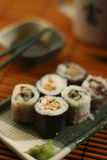 Sushi. Traditional japenese food, focus on foreground Stock Photo