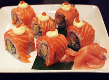 Sushi. With salmon on a plate stock photo