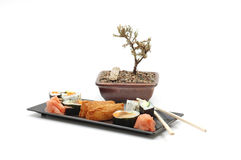 Sushi. Plate of sushi with bonsai tree in background Royalty Free Stock Photos