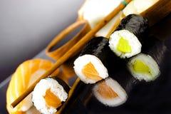 Sushi. Shushi japanese traditional food with athmosepheric background stock photo