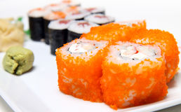 Sushi. Fresh sushi on a white plate royalty free stock images
