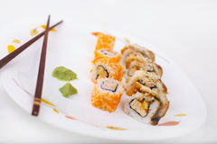 Sushi. National Japan eat sushi on white background Royalty Free Stock Photos