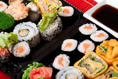 Sushi. Closeup Traditional Japanese food as background Stock Images