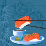 Sushi. Salmon nigiri sake sushi on the background with silhouette of dragon - vector illustration vector illustration
