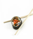 Sushi. With chopsticks isolated on white Royalty Free Stock Photo