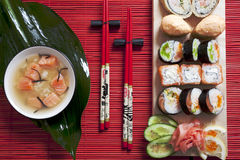 Sushi. Japan sushi, rolls and salmon soup Stock Images