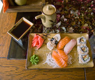 Sushi. Japanese sushi, sashimi and rolls stock images