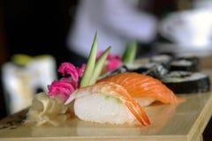 Sushi. A Macro shot of a plate full of shushi stock images