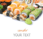 Sushi. Different Sushi and Rolls over White Background. Border Design stock photography