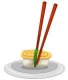 Sushi. Illustration of isolated sushi with chopsticks on white Royalty Free Stock Photo