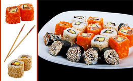 Sushi. And rolls isolated on white. Many Royalty Free Stock Photography