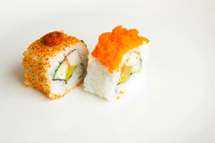 Sushi. Two Japanese sushi isolated on a white plate Stock Images