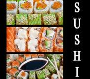 Sushi. Collage. Many fresh Royalty Free Stock Photo