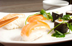 Sushi. On the table and fish Royalty Free Stock Images