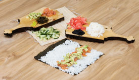 Sushi. Stages of cooking sushi. Studio shoot Royalty Free Stock Photos