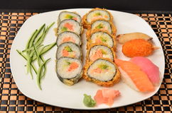 Sushi. Japanese food made ​​from rice and fishes Stock Photography