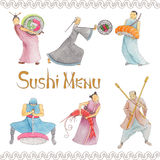 Sushi. Set of three isolated hand painted figures for sushi menu Royalty Free Stock Photo