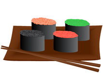 Sushi. Vector illustration of sushi with caviar Stock Illustration