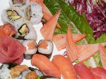 Sushi. A plate of different types and flavors of sushi Stock Photography