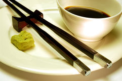 Sushi. Wasabi and soy sauce Stock Image