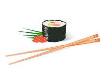 Sushi. Vector illustration of a sushi roll and chopsticks Royalty Free Stock Image