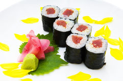 Sushi. With the rice by fish and lipestkami of the colors Royalty Free Stock Image
