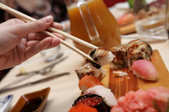The sushi. The dinner party in a japan restaurant Royalty Free Stock Image