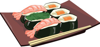 Sushi. Japanese dish of Sushi from sea gifts Stock Images