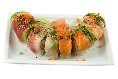 Sushi. Rainbow roll Royalty Free Stock Photography