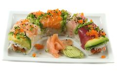 Sushi. Rainbow roll Stock Photo