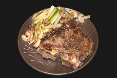 Sushi. Tappan t-bone steak Royalty Free Stock Photography
