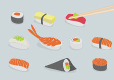 Sushi. Vector background illustration of various types of sushi, iconic style Royalty Free Stock Image