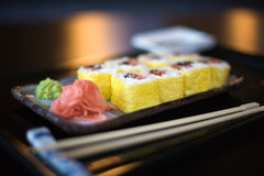 Sushi. On the table in restaurant; shallow DOF Stock Photos
