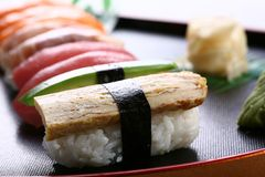 Sushi. Various colorful sushi food served Royalty Free Stock Photography