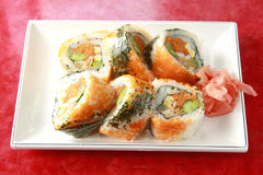 Sushi. With red ginger on the dish Royalty Free Stock Photo