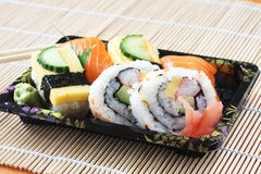 Sushi. On a bamboo mat stock photo