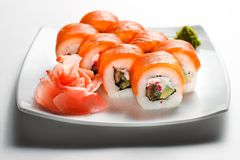 Sushi. On wight plate isolated on wight stock photography