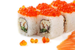 Sushi. Close up sushi with red caviar  on a white background Royalty Free Stock Image