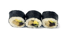 Sushi. Asian traditional food with raw fish with seaweed royalty free stock images