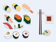 Sushi. Illustration of various types of sushi Stock Photo