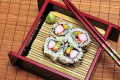 Sushi. California sushi rolls in a box Royalty Free Stock Images