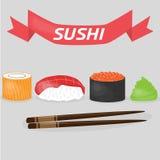 Sushi aislado con una bandera en un fondo gris Fotos de archivo