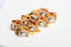 Sushi aislado en blanco Foto de archivo
