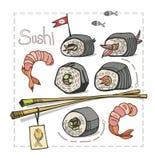 Sushi ajustado com os hashis no fundo branco Imagens de Stock Royalty Free
