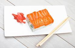 Sushi ajustado com salmões Foto de Stock Royalty Free