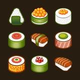 Sushi ajustado - cousine de japão Imagens de Stock