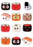 Sushi ajustado no estilo engraçado dos desenhos animados Imagem de Stock