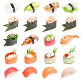 Sushi ajustado - tipos diferentes de sushes Imagens de Stock