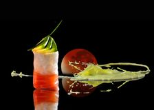 Sushi art design with bood moon. Art design picture of nigiri sushi with condiments ginger and wasabi with fog, wet mirror and a blood moon royalty free stock photo